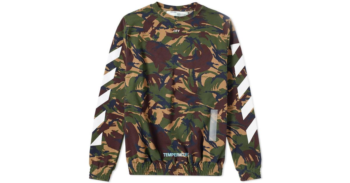 Lyst Off White Co Virgil Abloh Diagonal Camo Crew Sweat In Green