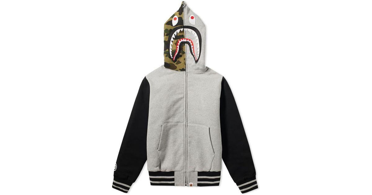 8de96421ff8 A Bathing Ape Shark Sweat Varsity Hooded Jacket in Gray for Men - Lyst