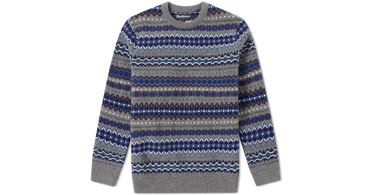 Lyst - Barbour Case Fair Isle Crew Knit in Gray for Men