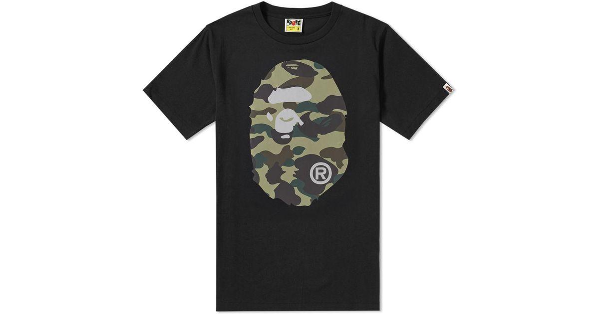57f60ebdffbc Lyst - A Bathing Ape Reflector 1st Camo Big Ape Head Tee in Black for Men