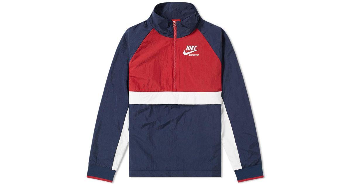 34932fc5aad11 Nike - Blue Half Zip Archive Jacket for Men - Lyst