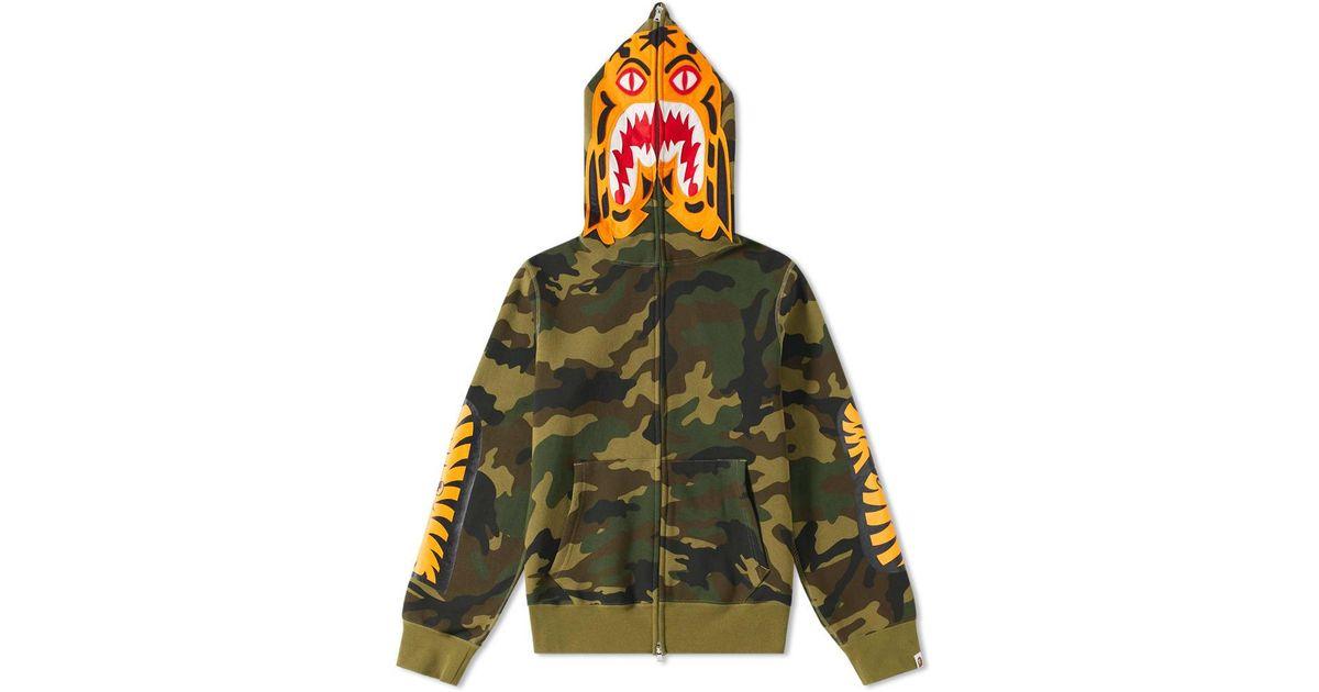 4f9b54cc22ad A Bathing Ape Woodland Camo Tiger Zip Hoody in Green for Men - Lyst