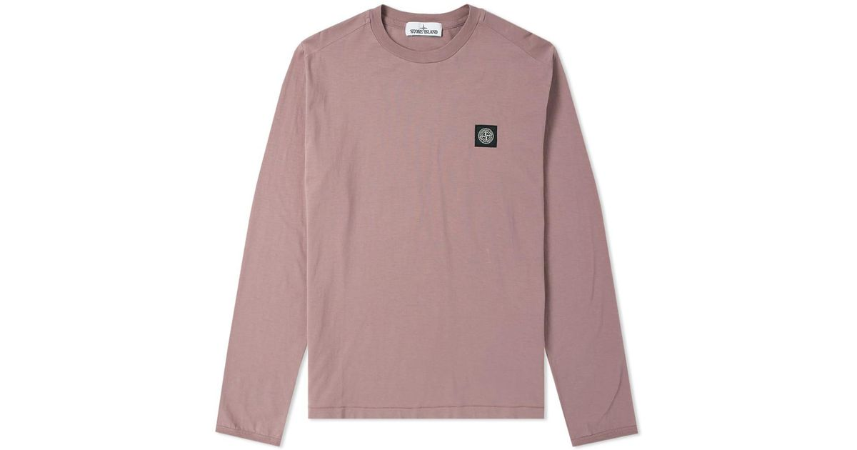 d9b840fb Stone Island Long Sleeve Patch Logo Tee in Pink for Men - Lyst