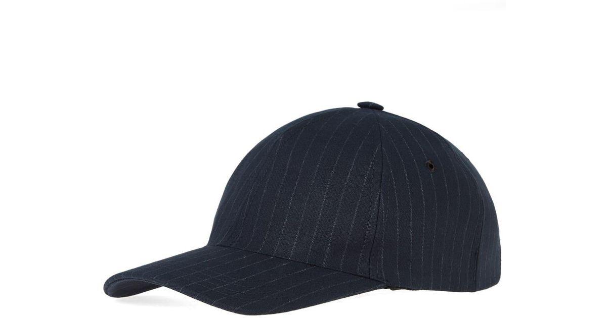 ce2d8608fa7 A.P.C. Stan Pinstripe Cap in Blue for Men - Lyst