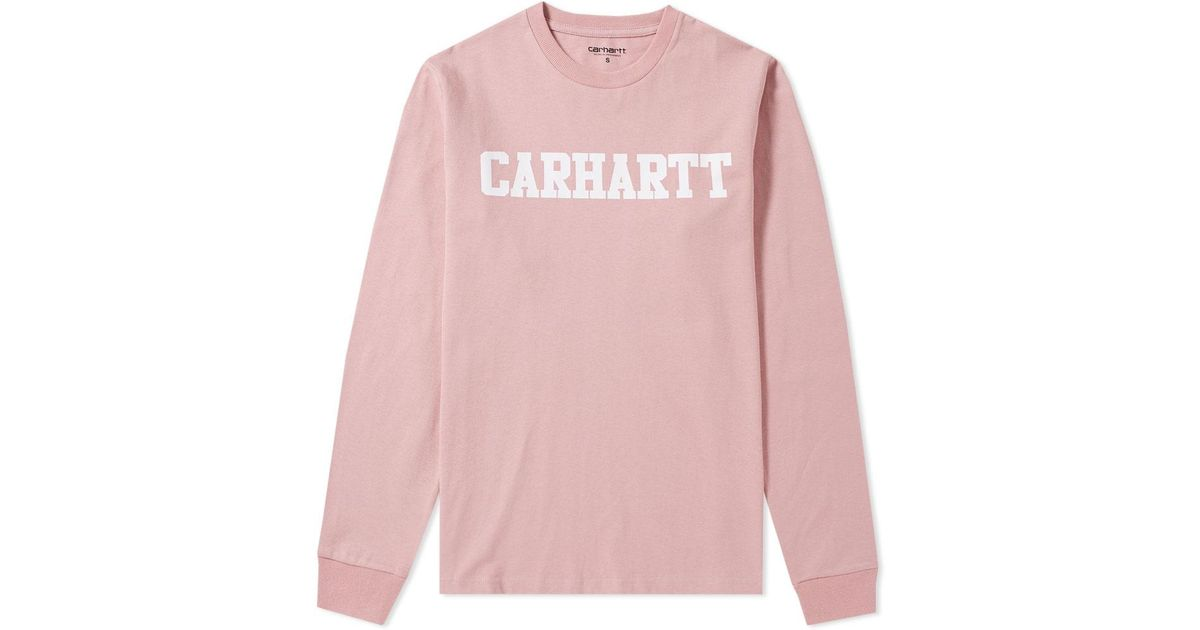 71db5e009d7d Lyst - Carhartt WIP Long Sleeve College Tee in Pink for Men