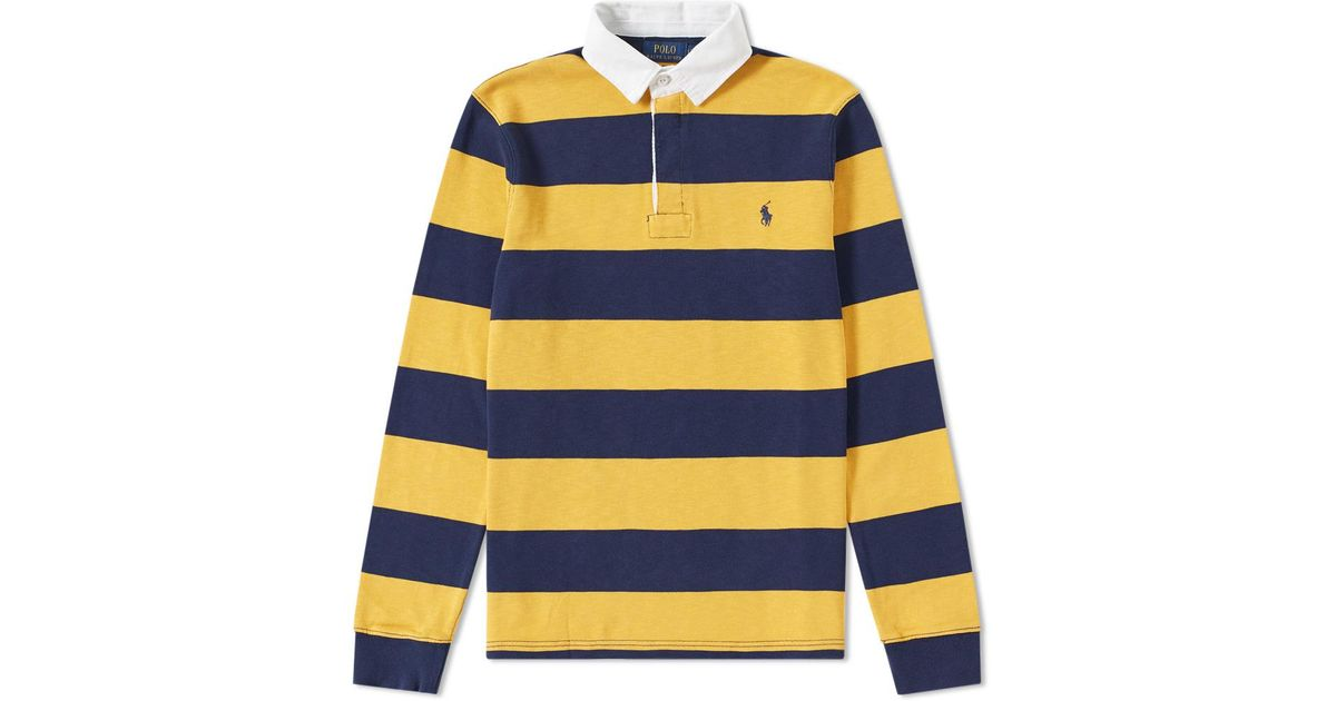 917b9d271ff Polo Ralph Lauren Stripe Rugby Shirt in Yellow for Men - Lyst
