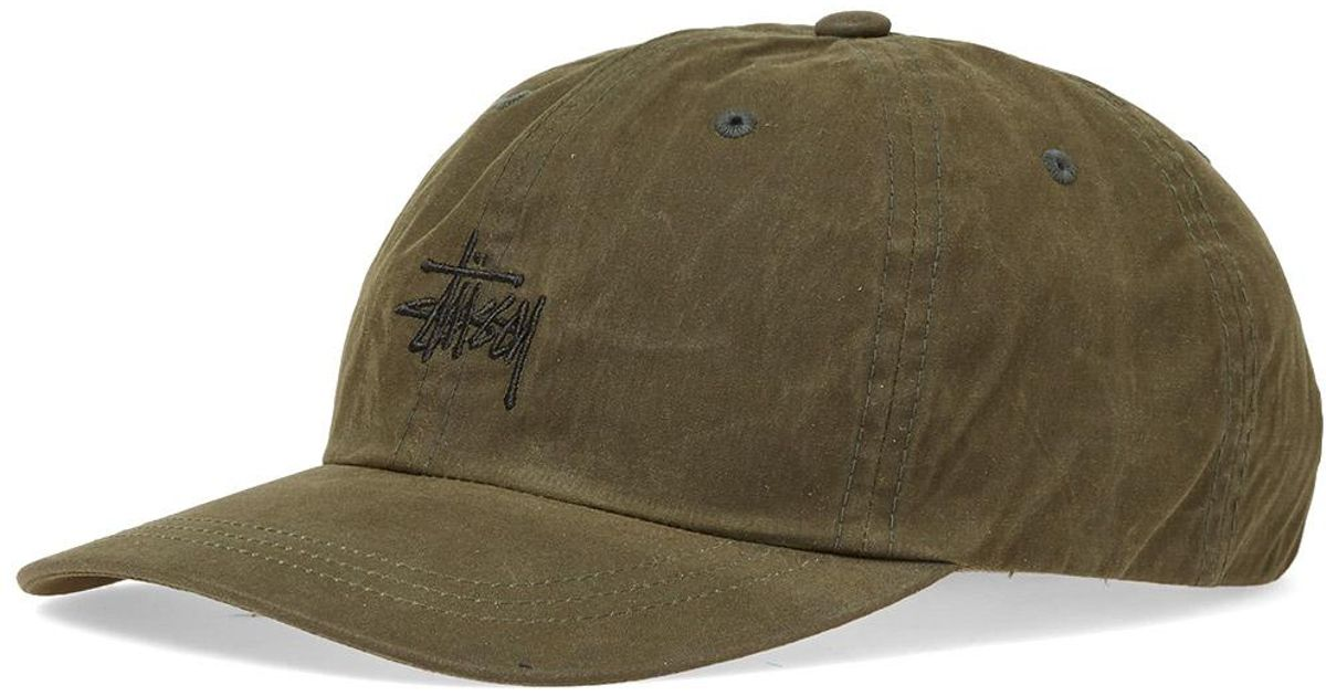 bf0365f8acf Stussy Wax Cotton Low Pro Cap in Green for Men - Lyst