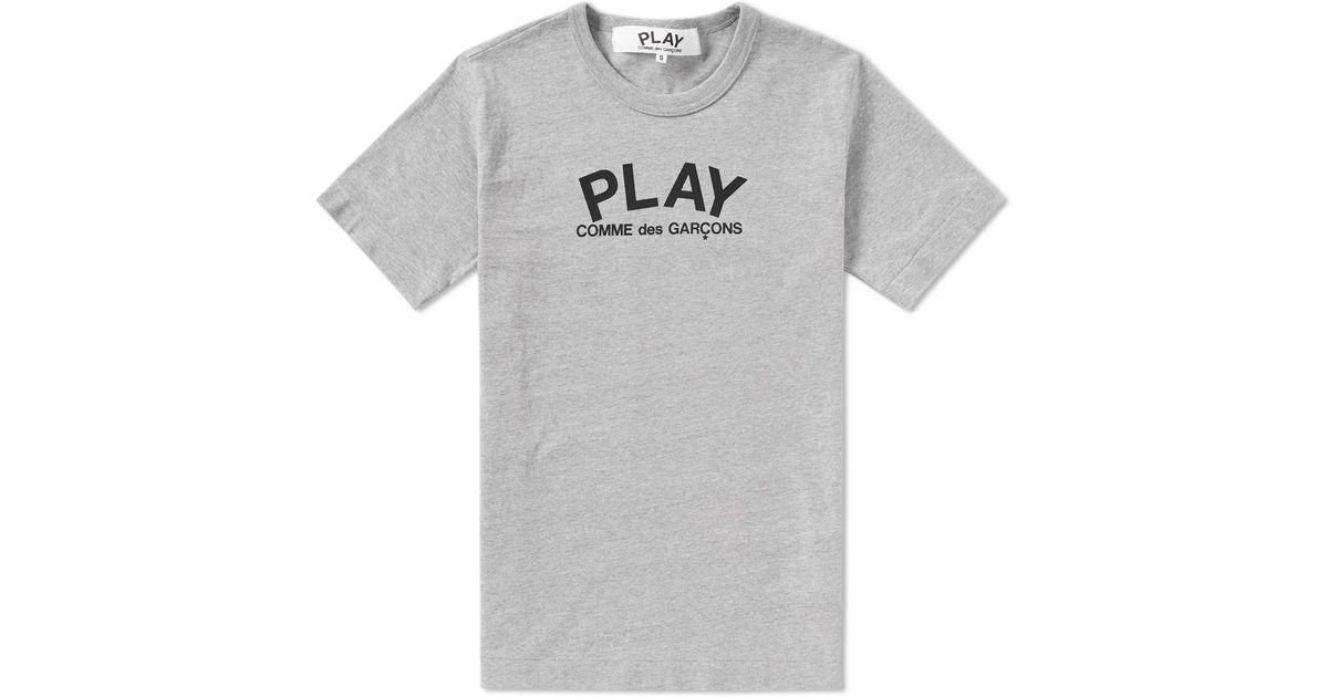 d9537e74e2c0 Play Comme Des Garçons Small Logo Text Tee in Gray for Men - Lyst
