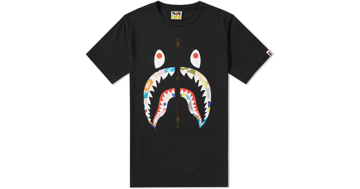 A Bathing Ape Multi Camo Shark Tee In Black For Men Lyst