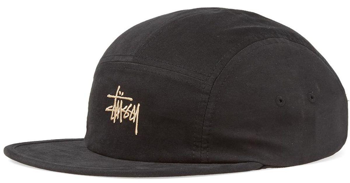 Lyst - Stussy Stock Logo Camp Cap in Black for Men 42ff2ce66db