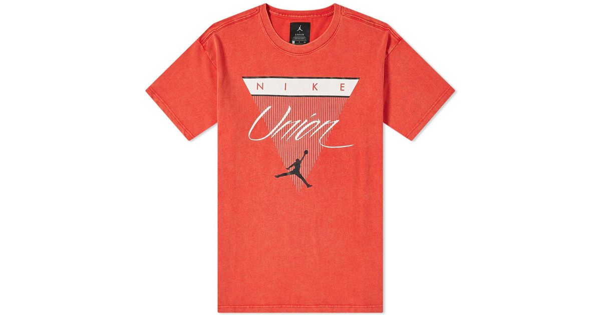 3925e5cb5d900d Lyst - Nike Air Jordan X Union Vault Triangle Tee in Red for Men