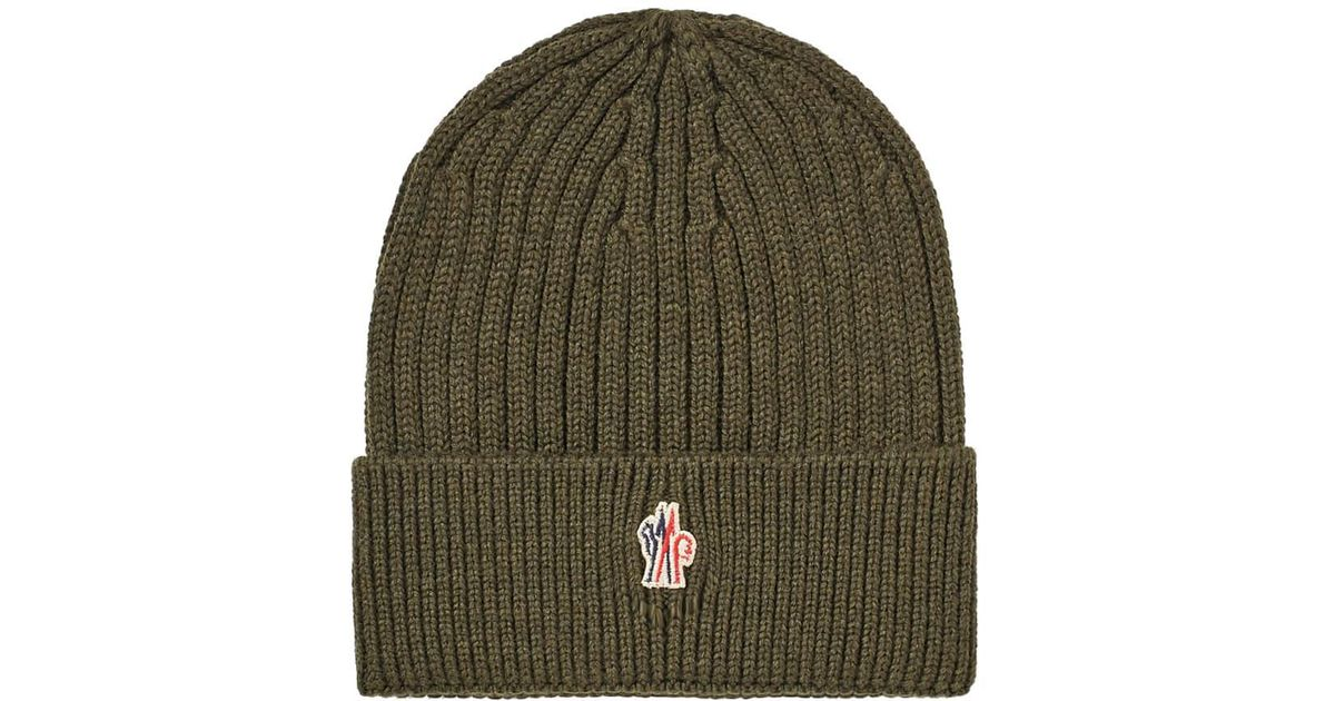 a2f98f5f21092 Moncler Grenoble Rib Beanie in Green for Men - Save 1% - Lyst