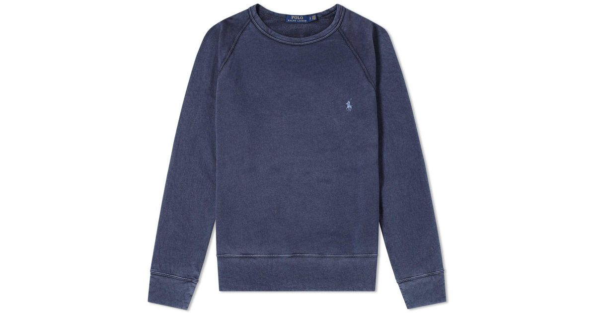 Lyst - Polo Ralph Lauren Washed French Terry Crew Sweat in Blue for Men 11f5bd8f6c85