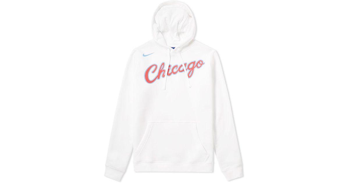 f30bbc68c7c1 Nike Chicago Bulls City Edition Hoody in White for Men - Lyst
