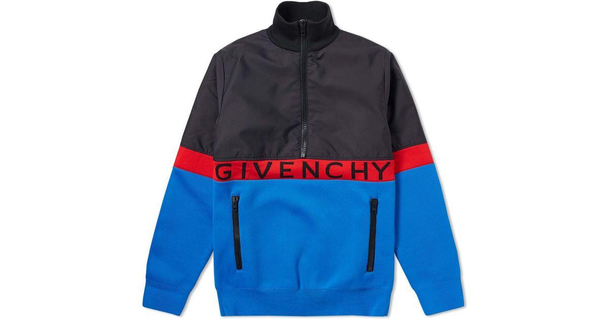 6d5150e2ef3d Lyst - Givenchy Half Zip Logo Band Jacket in Blue for Men