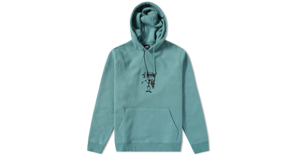 Stussy Tribe Man Applique Hoody in Green for Men - Lyst ad6732d879c6