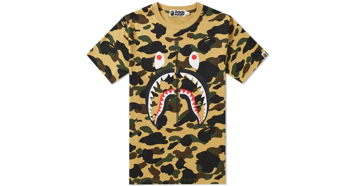 2a61f84e8 A Bathing Ape 1st Camo Shark Tee in Yellow for Men - Lyst