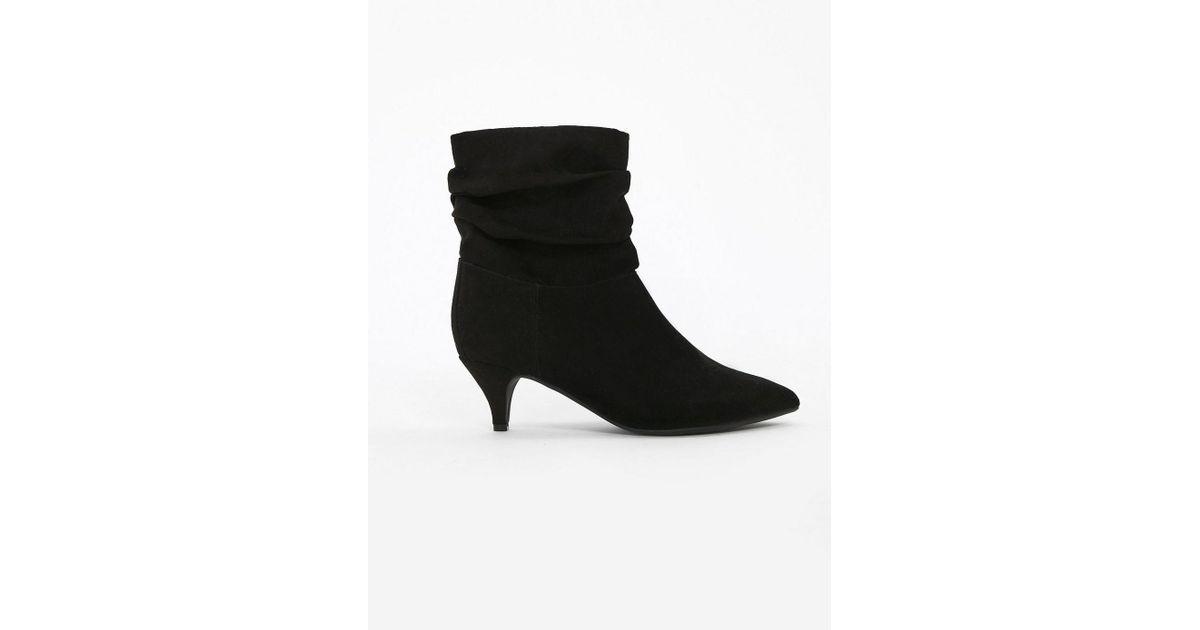 95962df094 Evans Extra Wide Fit Black Kitten Heel Ankle Boots in Black - Lyst