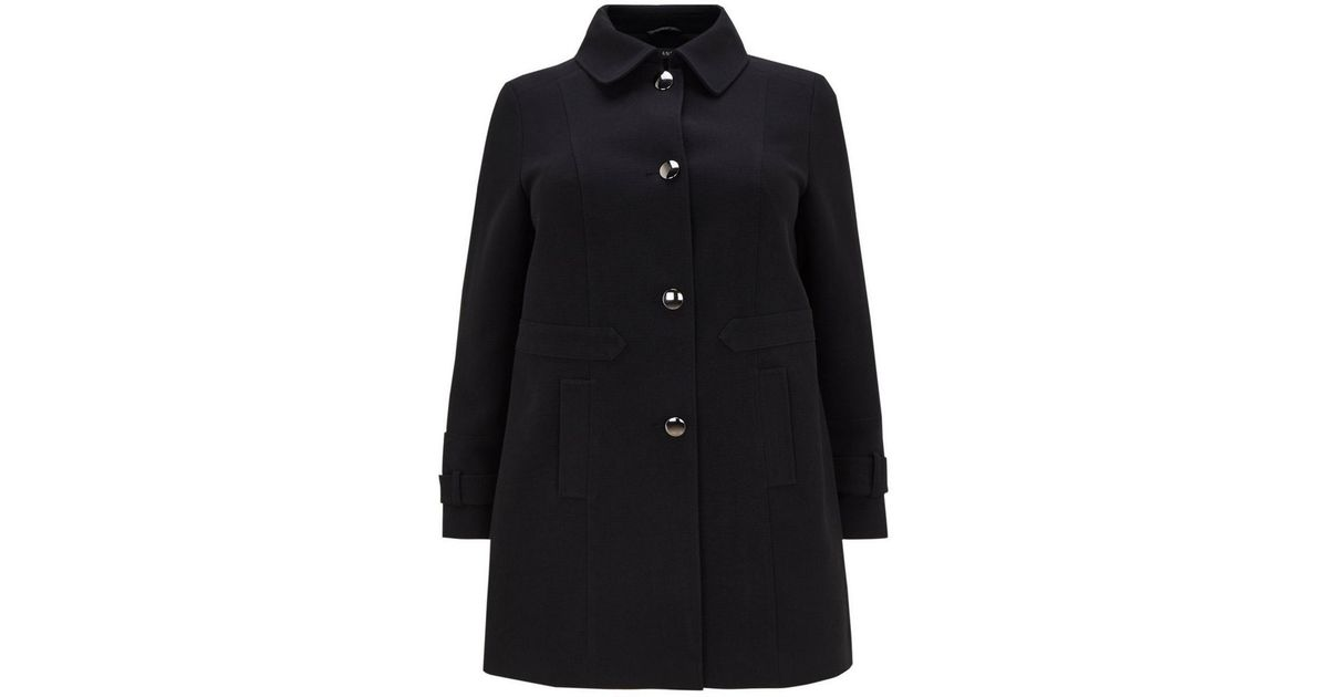 Evans Black Collared Coat in Black - Lyst 4c8bd9e53a71