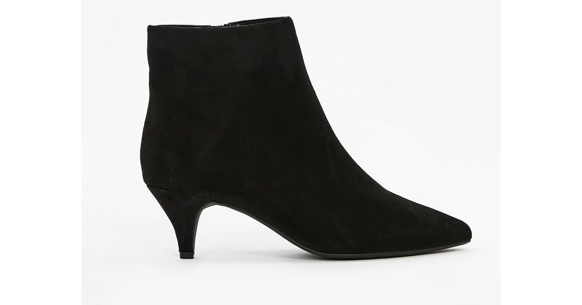 ed8f07f4db2 Evans - Wide Fit Black Kitten Heel Ankle Boot - Lyst