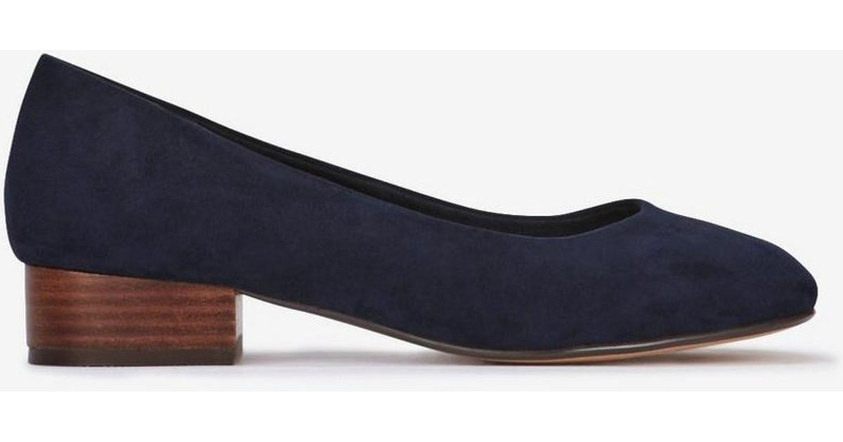 035e662f255 Evans - Extra Wide Fit Navy Blue Low Block Heel Court Shoes - Lyst
