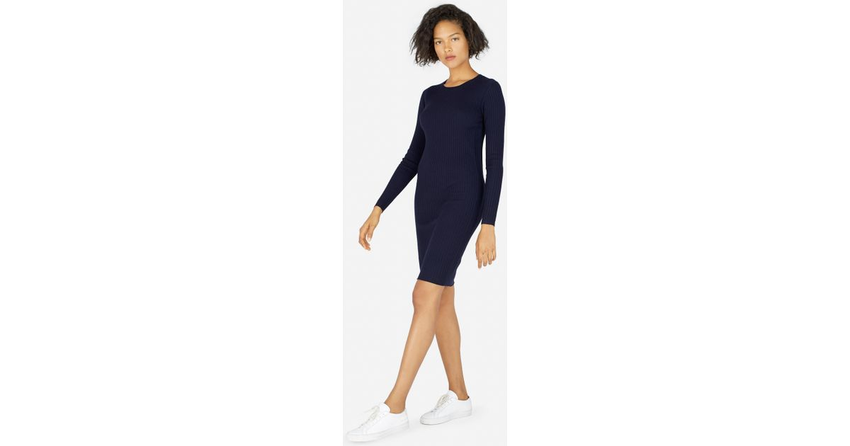 a568fd448f7 Lyst - Everlane The Luxe Wool Ribbed Long-sleeve Dress in Blue