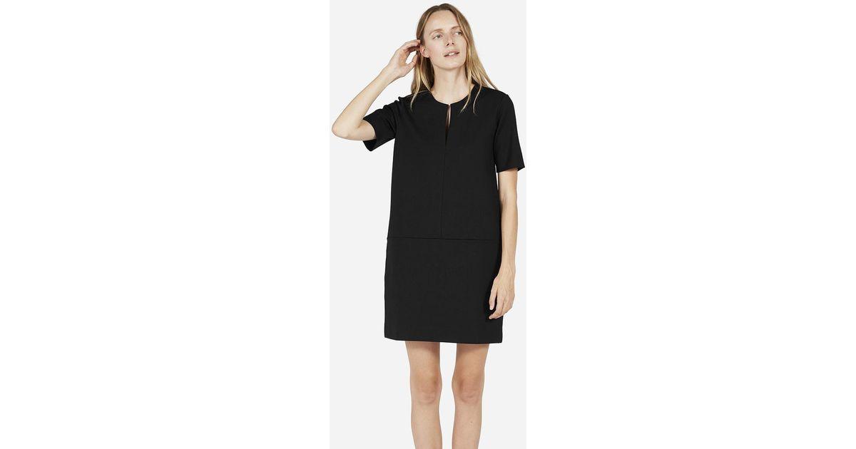 79e0eee9fde Everlane The Ponte Short-sleeve Dress in Black - Lyst