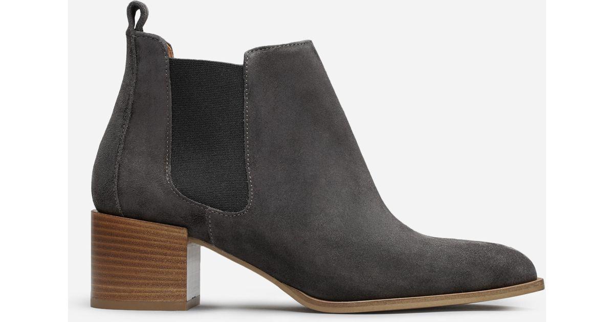 everlane the suede heel boot in black lyst