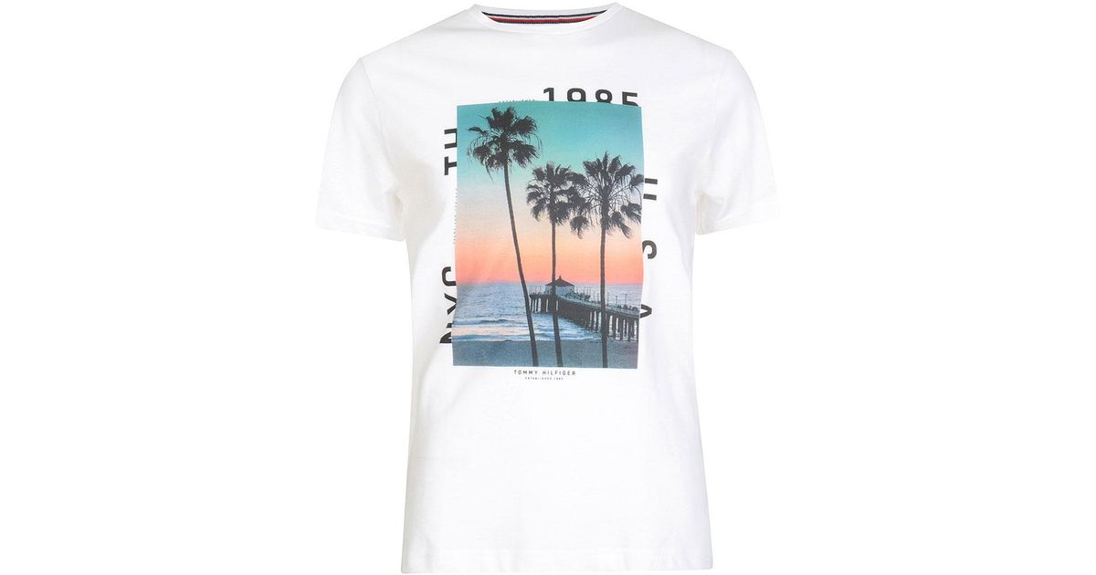 3e7f82e5 Tommy Hilfiger Sunrise Palm Tree Print T-shirt in White for Men - Lyst