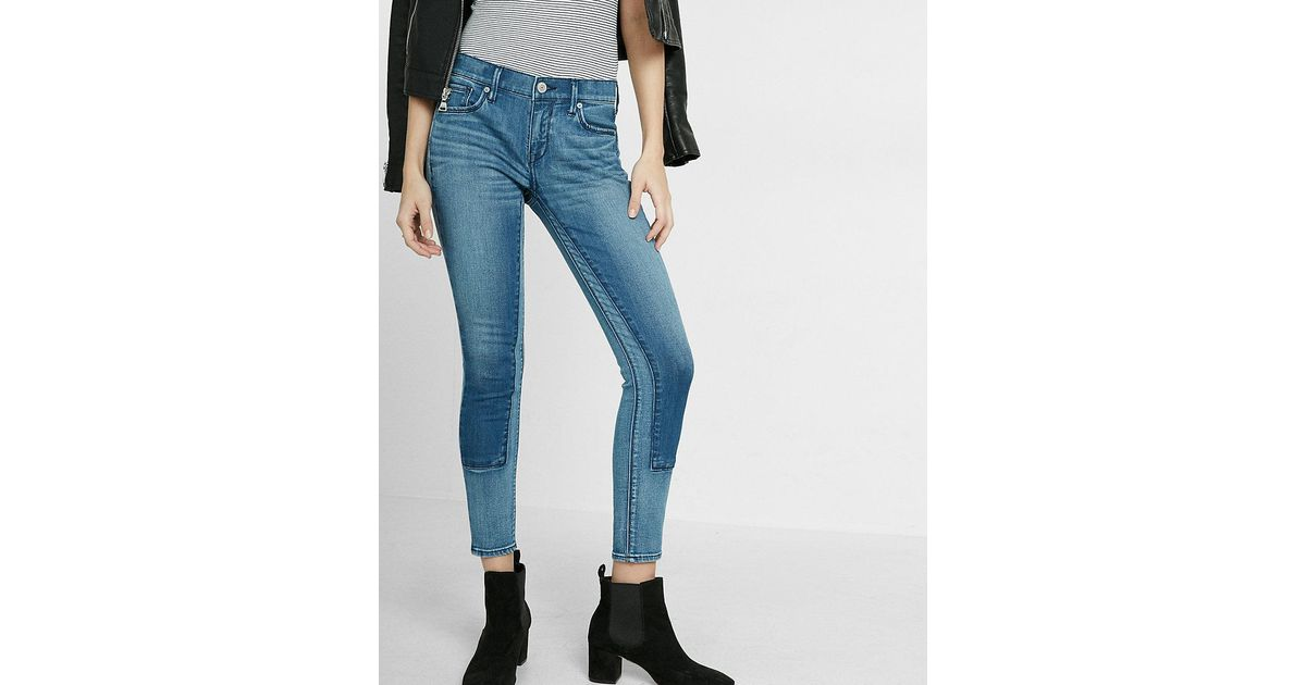 Lyst express mid rise two tone patch ankle legging in blue for Express wash roma