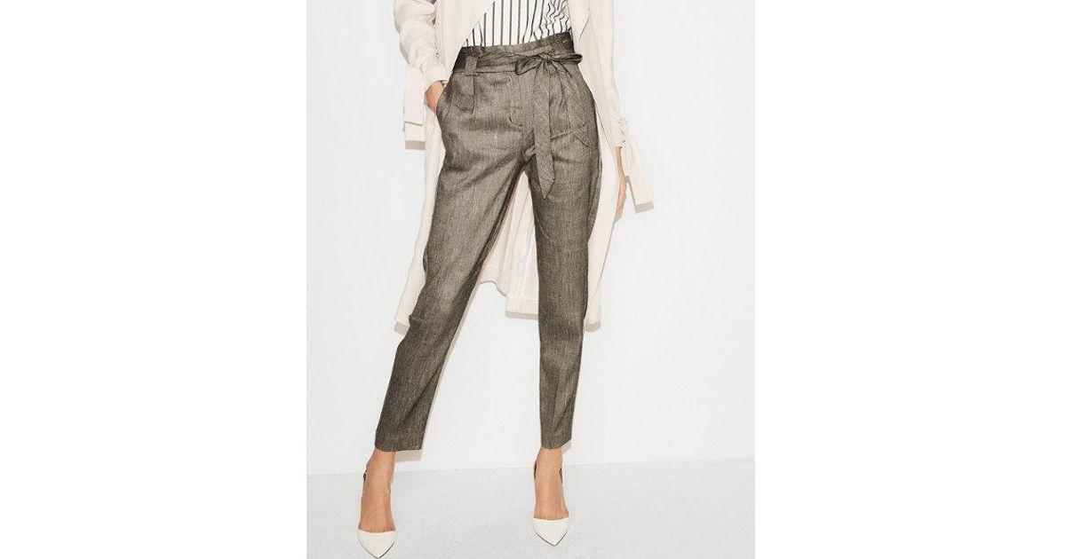 0691ca728483c5 Express Petite High Waisted Linen-blend Paperbag Ankle Pant in Gray - Lyst