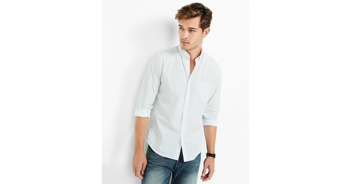 Lyst express soft wash micro print shirt in white for men for Express wash roma