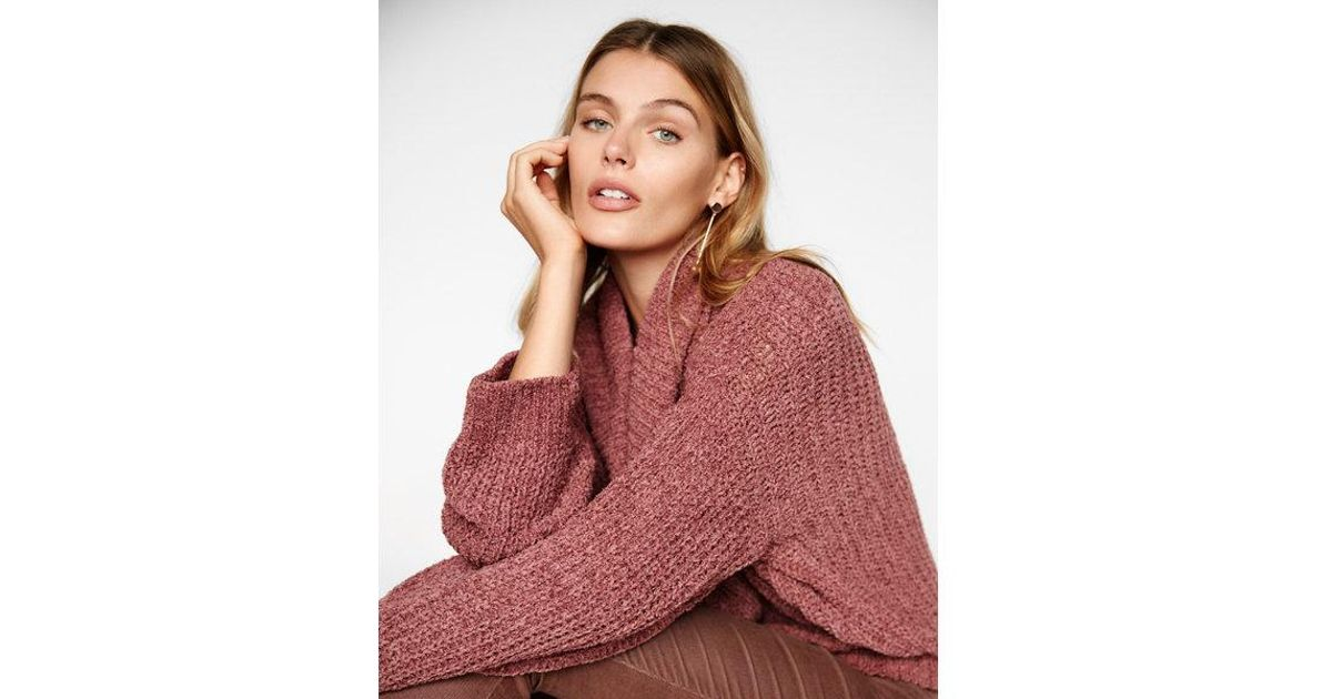 Express Cozy Chenille Cowl Neck Sweater in Orange | Lyst