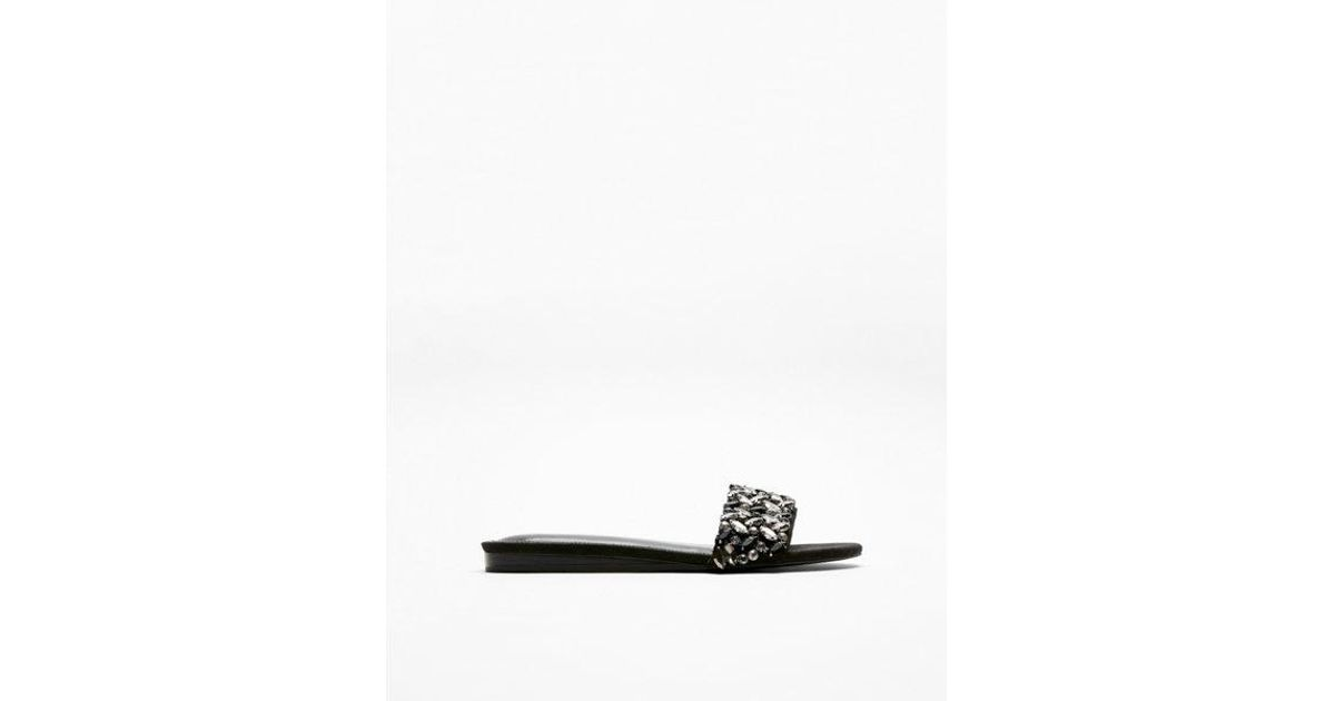22ee6137e2beff Lyst - Express Jeweled Slide Sandals in Black