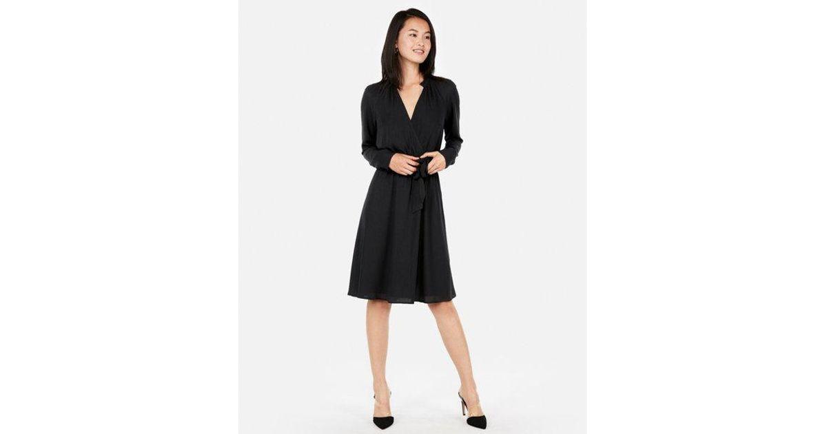 4fc39d3b31f2a Lyst - Express Surplice Tie Waist Shirt Dress in Black