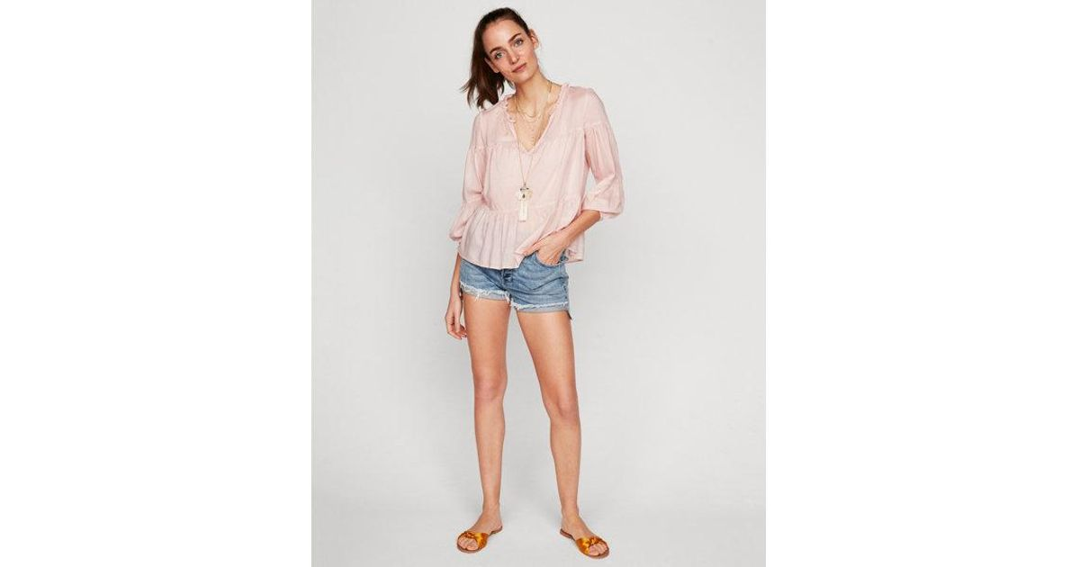 88fad0793babfa Express Deep V-neck Popover Blouse in Pink - Lyst