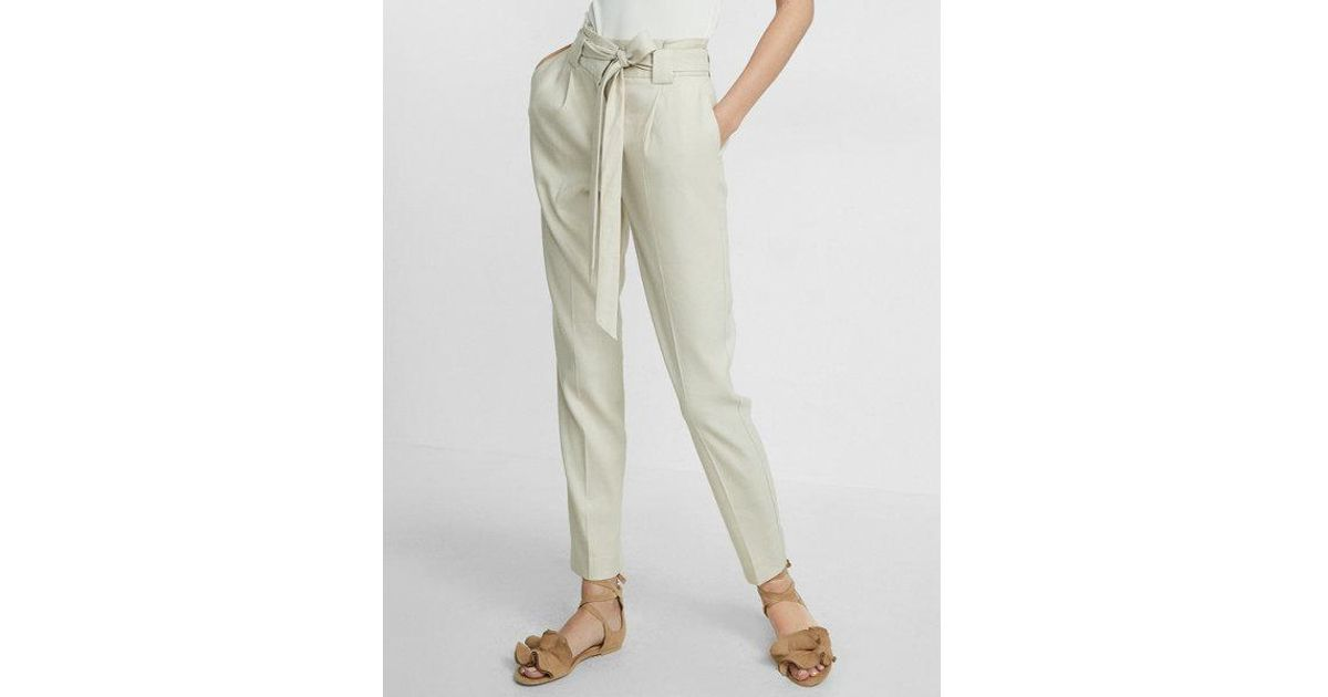 f7e2bc64fe4f86 Lyst - Express Petite High Waisted Linen-blend Belted Ankle Pant