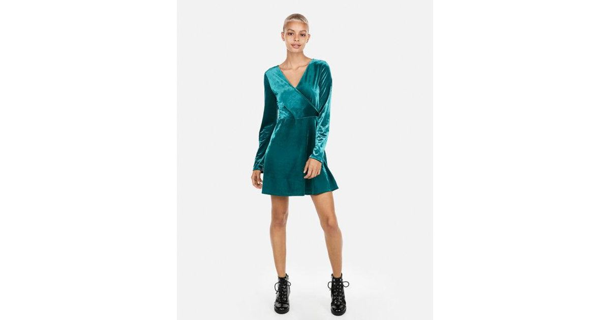 6966ba3c8f Lyst - Express Velvet Surplice Fit And Flare Dress in Green