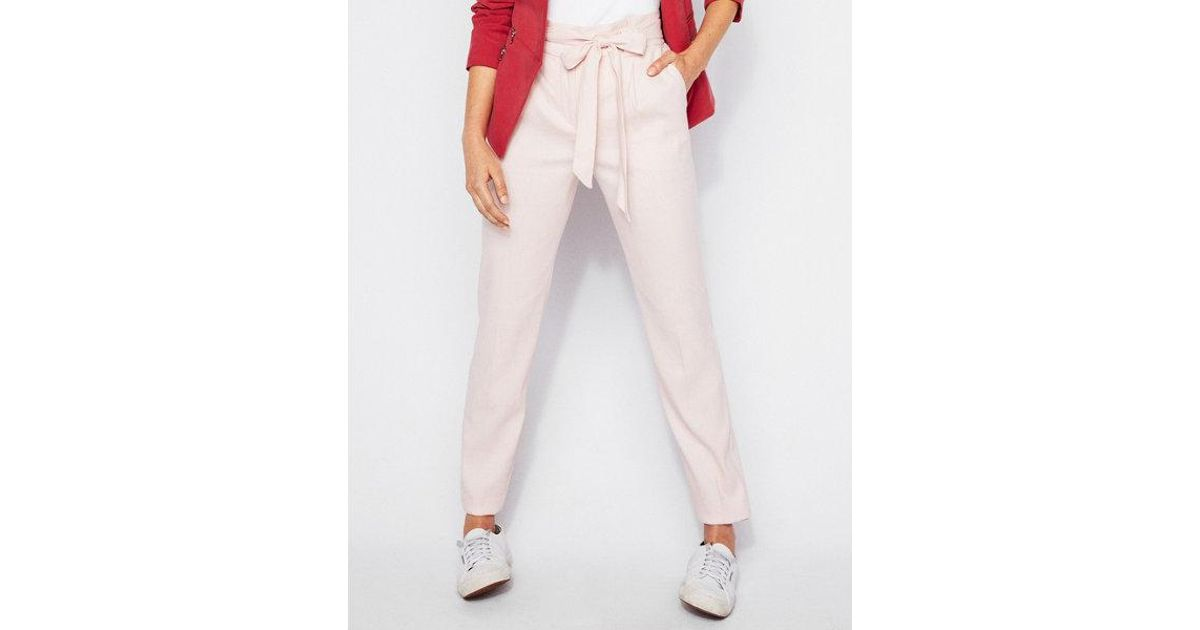 9b44687b51b66f Express High Waisted Linen-blend Paperbag Ankle Pant in Pink - Lyst