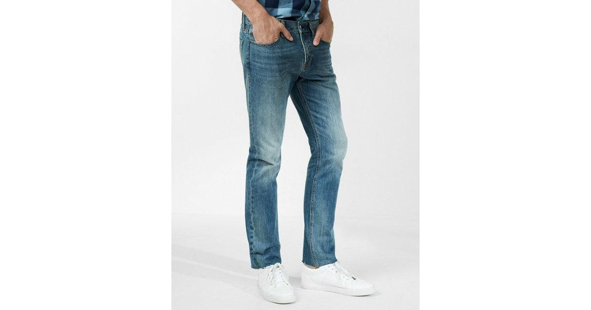 dc2e089696d8e Express Ig   Tall Slim Straight Medium Wash Raw Cut Hem 100% Cotton Jeans