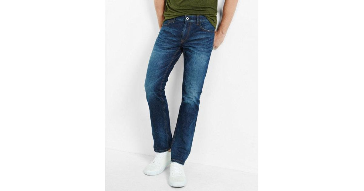 Lyst express slim dark wash stretch jeans in blue for men for Express wash roma