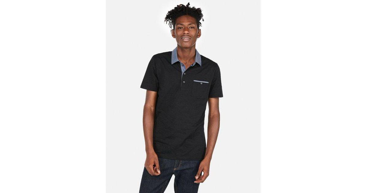 a9a2e4e9398a Lyst - Express Woven Collar Performance Polo in Black for Men