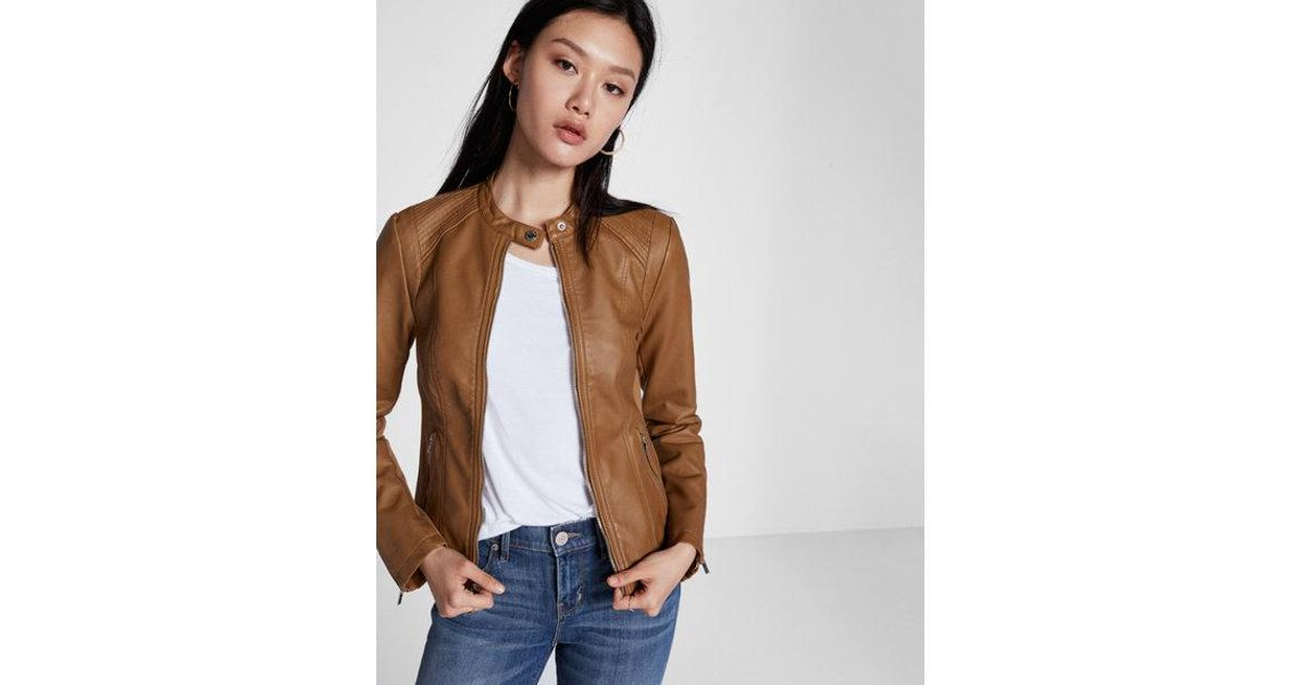 Lyst Express Faux Leather Double Peplum Jacket In Brown