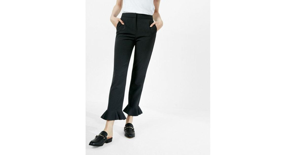 Lyst Express Cropped Bell Flare Dress Pant In Black