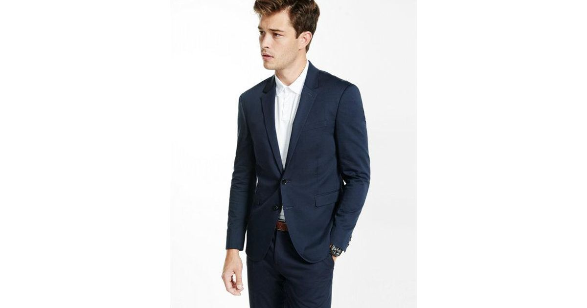 cbf3883bc Express Ig & Tall Extra Slim Navy Cotton Sateen Suit Jacket in Blue for Men  - Lyst