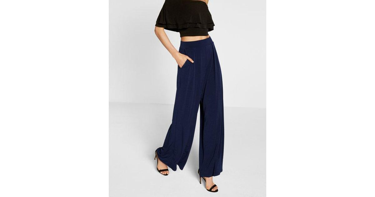 Lyst Express Petite High Waisted Wide Leg Dress Pant In Blue