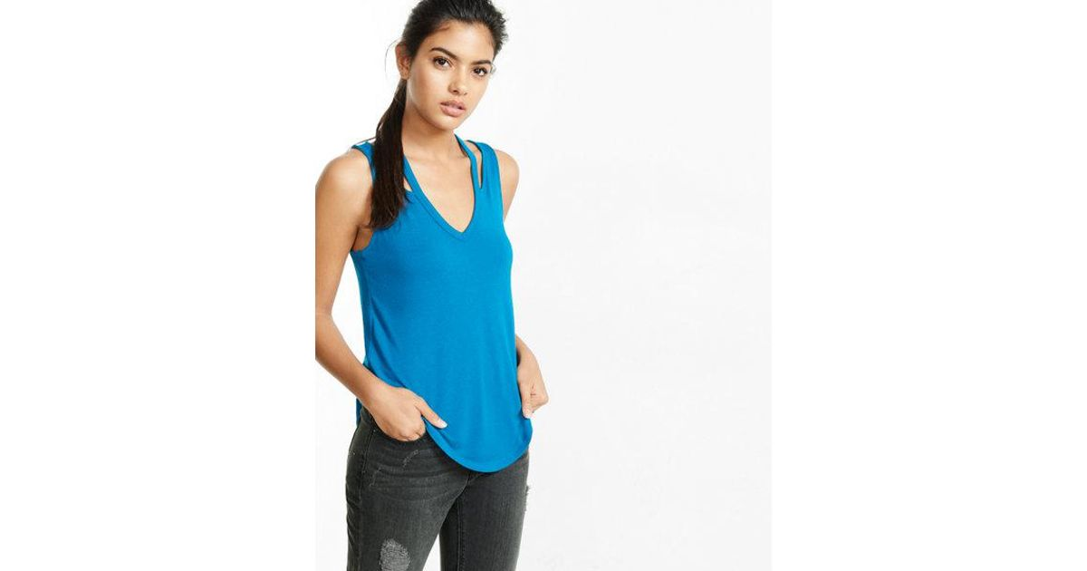 6f40eaa4f8 Express One Eleven Cut-out V-neck Tank in Blue - Lyst