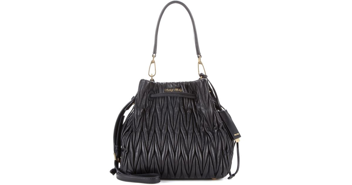 Lyst - Miu Miu Matelassé Leather Bucket Bag in Black 2e1436bc40021