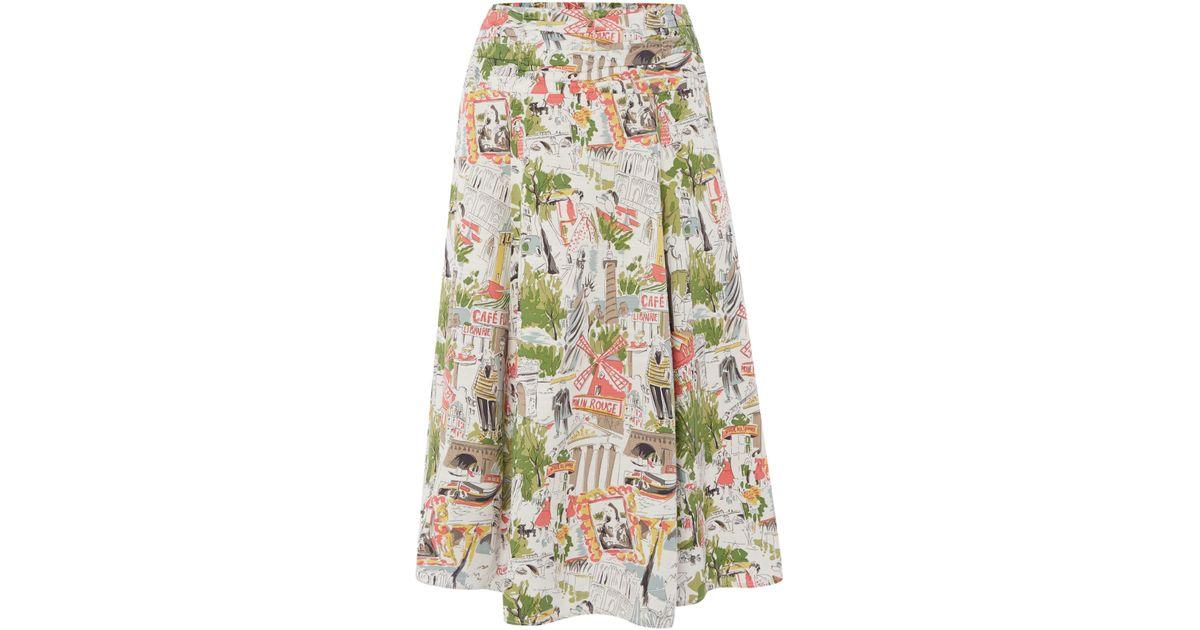 braintree printed midi skirt in white lyst