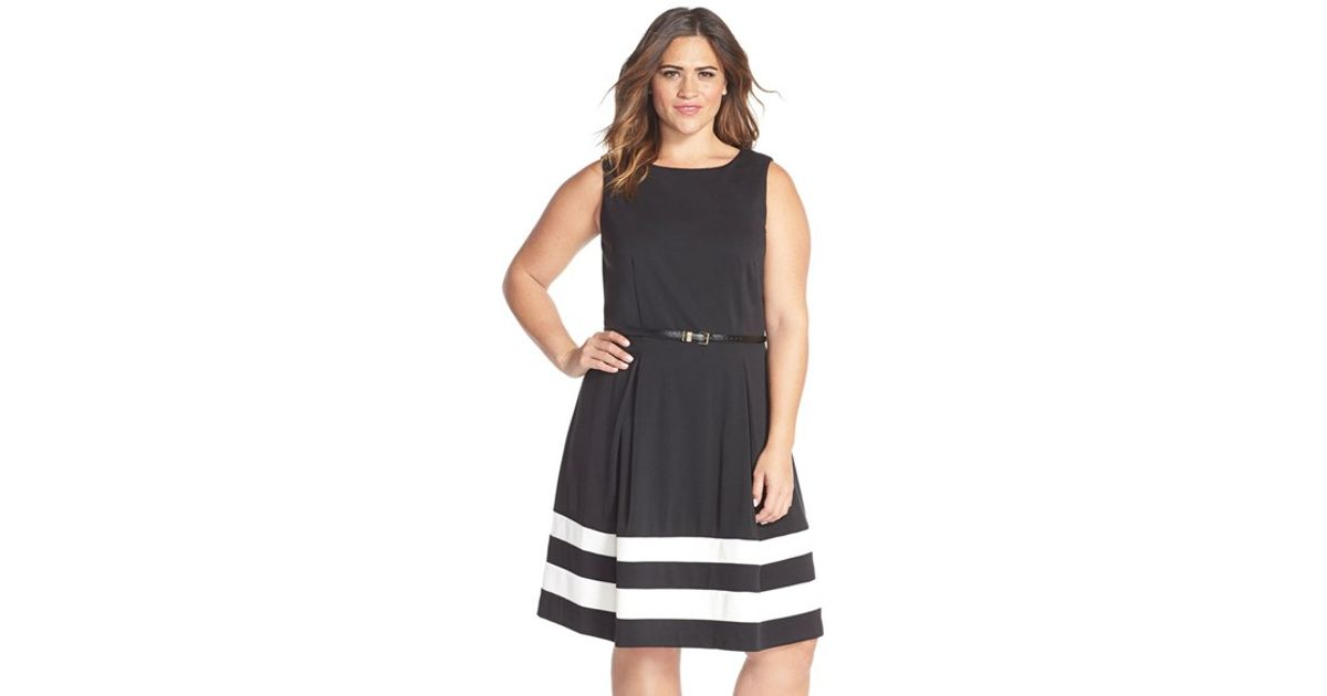 8e626bbb1087fa Calvin Klein Colorblock Belted Fit & Flare Dress in Black - Lyst